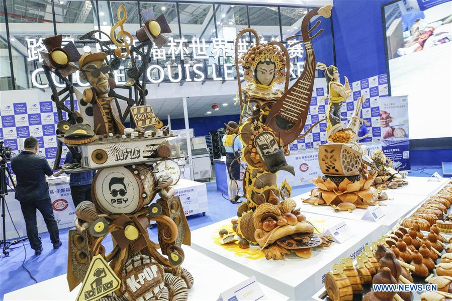 Baking artworks are seen in a baking competition at the Asia-Pacific region of the Louis Lesaffre Cup during the second China International Import Expo (CIIE) in Shanghai, east China, Nov. 9, 2019. Team China was selected to take part in the global final of the Louis Lesaffre Cup baking competition. (Xinhua/Zhang Yuwei)