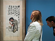 People visit art exhibition of creations by Chinese artist Qi Baishi in Athens