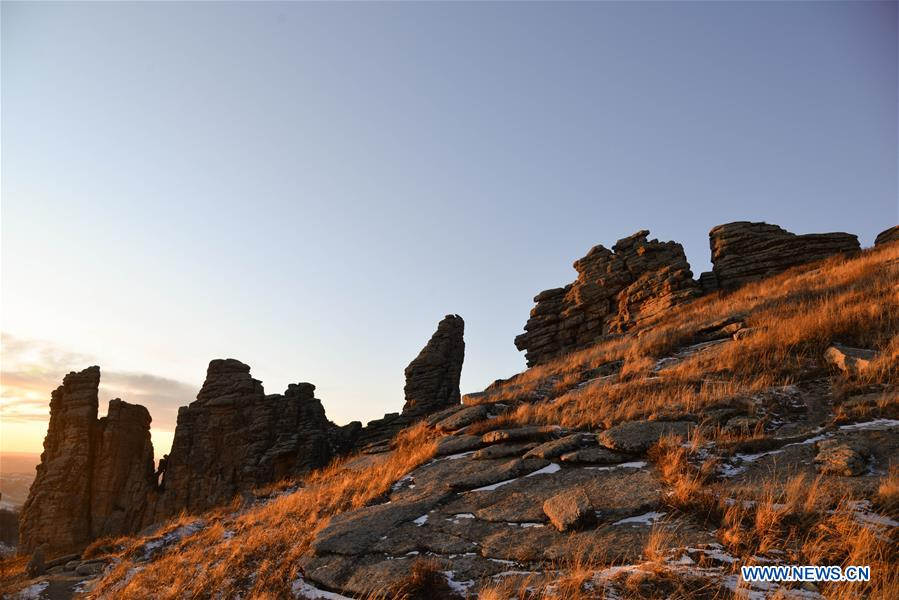 Scenery of Hexigten stone forest in China's Inner Mongolia