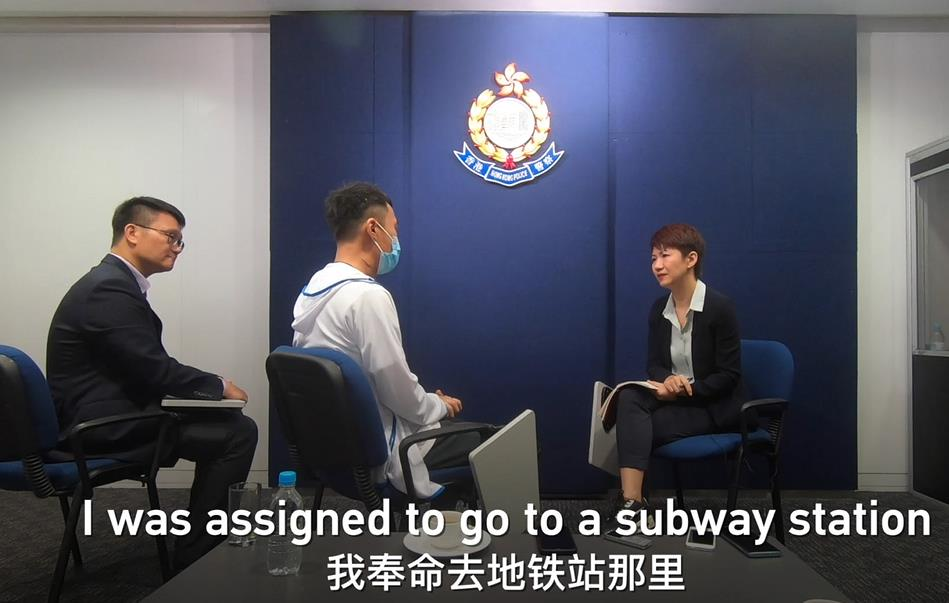 CGTN's Liu Xin talks to injured Hong Kong cop