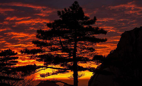 Stunning scenery of flaming cloud in Mount Huangshan