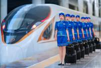 Hohhot high-speed trains update female attendant's uniforms with Mongolian elements