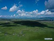 View of Jinyintan grasslands in Qinghai
