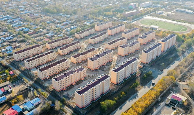 Construction work of residential buildings completed in Axili, Xinjiang