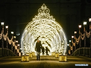 Light decorations for New Year in Moscow