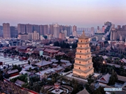 Sunset scenery of Dayan Pagoda in Xi'an
