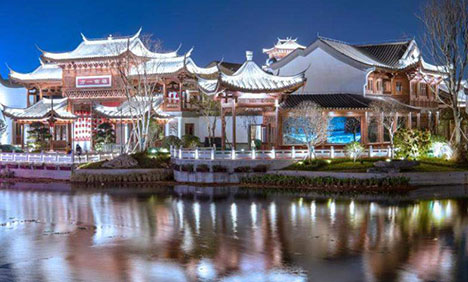 Sparkling night at Minyue water town in Fuzhou