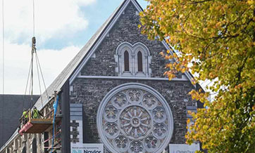 Workers repair Christchurch Cathedral in New Zealand