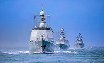 Naval fleet steams in East China Sea
