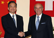 President of the Swiss Confederation Hans-Rudolf Merz (R) meets with visiting Chinese Premier Wen Jiabao in Bern Jan. 27, 2009.