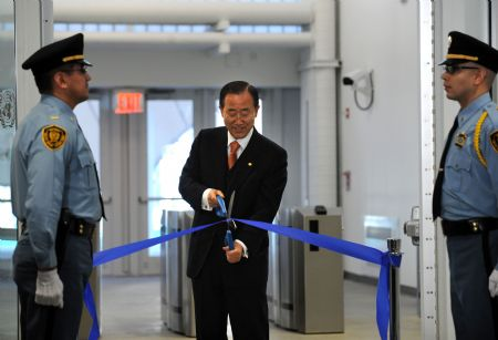 UN chief cuts ribbon to mark opening temporary office building for world body