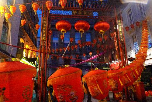 Red lanterns raised in London's Chinatown