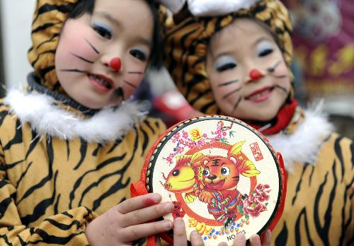 Tiger decorations around China embrace Lunar New Year