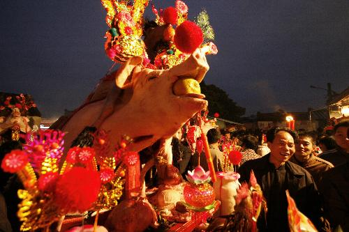 Decorate pigs - tradition at 8th day of Chinese Luner New Year