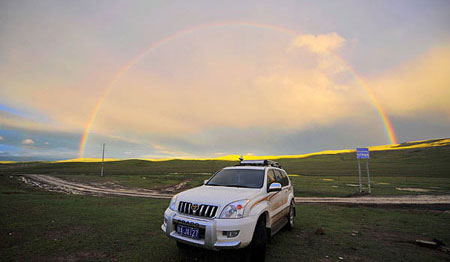 Beautiful rainbow on Tibetan plateau