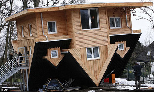 Crazy? Upside-down house in Germany