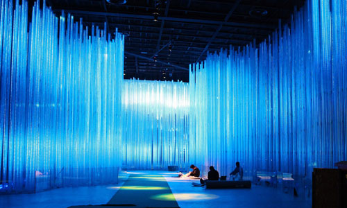 Indoor display of China pavilions at Shanghai Expo