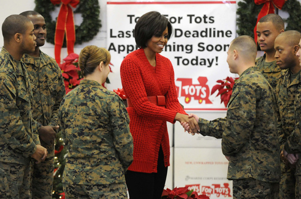 U.S. first lady Michelle Obama visits Toys for Tots distribution center