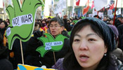 South Koreans protest against planned live shell artillery drill