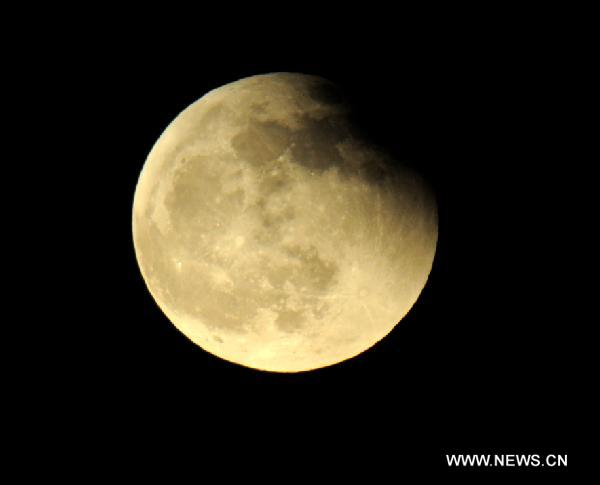 Lunar eclipse seen in C China's Henan