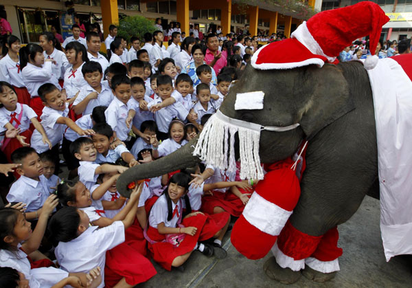 Elephants dressed as Santa Claus in Bangkok
