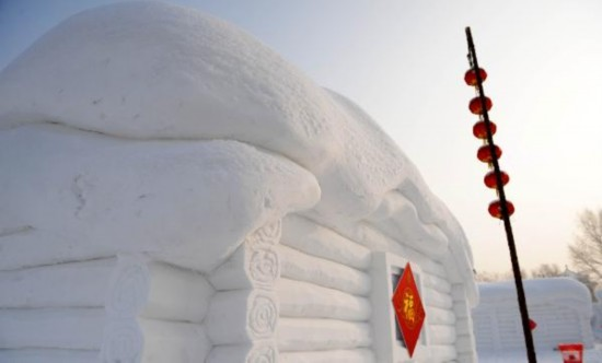 Snow house restaurant greets guests in Harbin