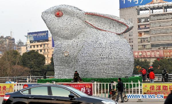 Giant porcelain sculpture of rabbit to greet New Year
