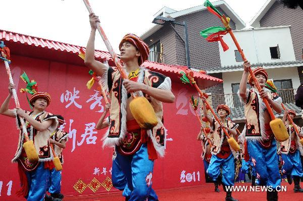 Local residents celebrate coming Spring Festival in quake-hit Wenchuan County
