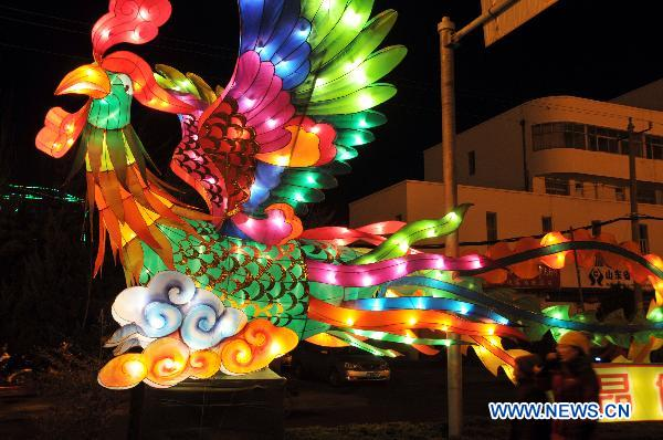 Lanterns lit up in Shangdong for upcoming Spring Festival