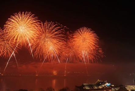 Fireworks light up sky on Chinese New Year's Eve