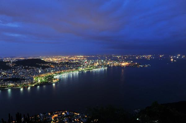 Beautiful night view of Copacabana beach