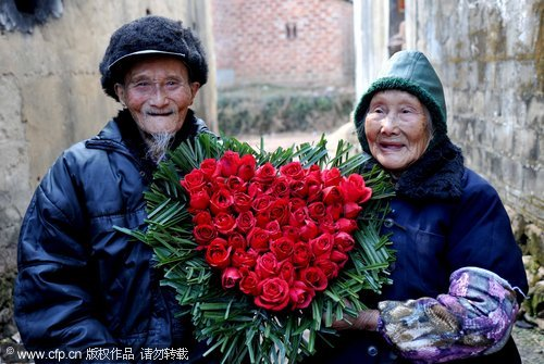 Centenarian couple celebrates Valentine's Day