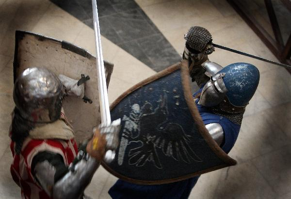 Contestants compete in knight festival in Minsk, Belarus