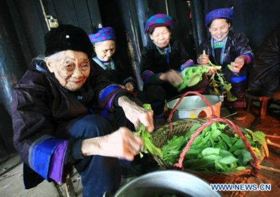 Centenarian woman in south China
