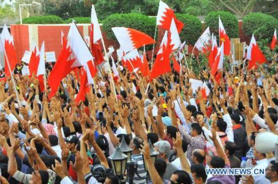 Thousands of protesters demonstrate in Manama, Bahrain
