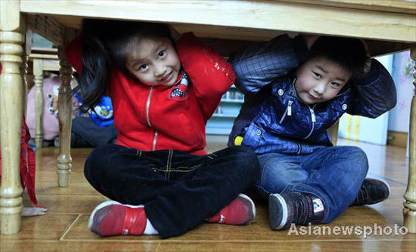 Children prepare for earthquake safety