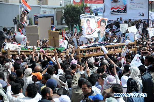 Funeral held for 52 protesters killed in Yemen clashes