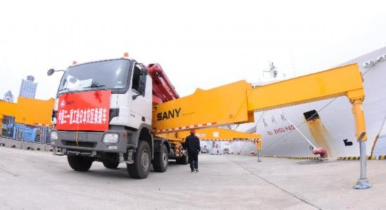 China's pump truck arrives at Osaka, Japan