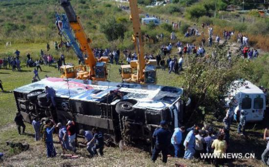 Passenger bus overturns in Argentina, 20 injured