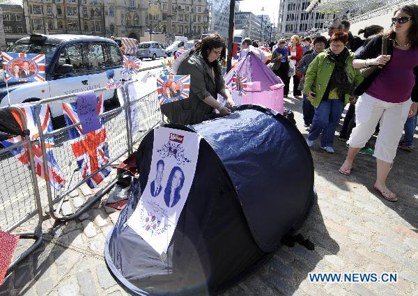 Spectators camp outside Prince William's wedding venue