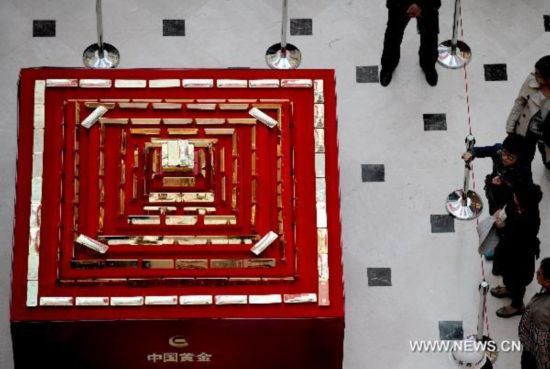 Gold bricks on display in NE China