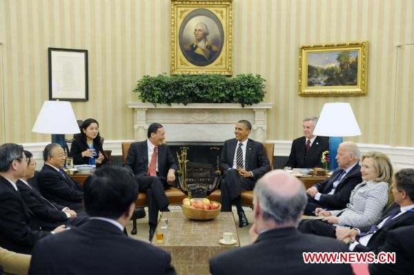 President Hu urges joint efforts to advance cooperative partnership with U.S.: vice premier