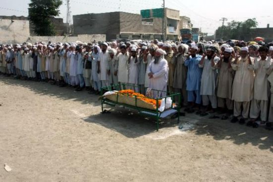 Funeral held for bakery blast victim in Pakistan's Nowshera