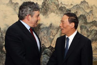 Chinese vice premier meets former British PM Gordon Brown