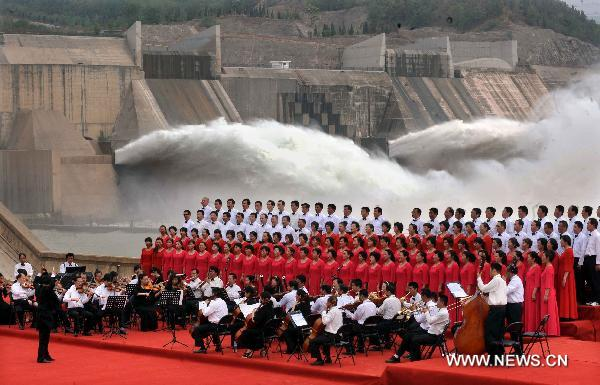 Tourism festival highlights reservior water discharging in C. China