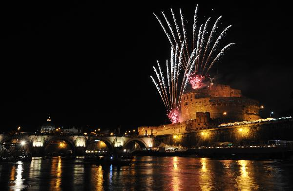 Fireworks explode over Saint Angel Castle, Rome