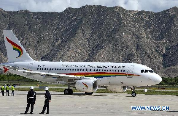 Inaugural flight ceremony of Tibet Airlines held in Gonggar Airport