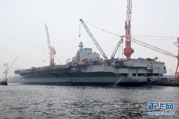 China is now rebuilding an imported aircraft carrier.  (Xinhuanet Photo)