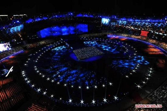 Photo taken on Aug. 12, 2011 shows the opening ceremony of the 26th Summer Universiade in Shenzhen, a city of south China's Guangdong Province. (Xinhua/Yang Shiyao)