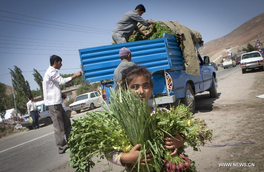 An Iranian girl carrying vegetables donated by a man after the earthquake in Varzaqan in northwest Iran, on Aug. 15, 2012. The twin quakes, which left 306 dead and over 3,000 injured, were followed by dozens of aftershocks in the following days in the region. (Xinhua/Ahmad Halabisaz)